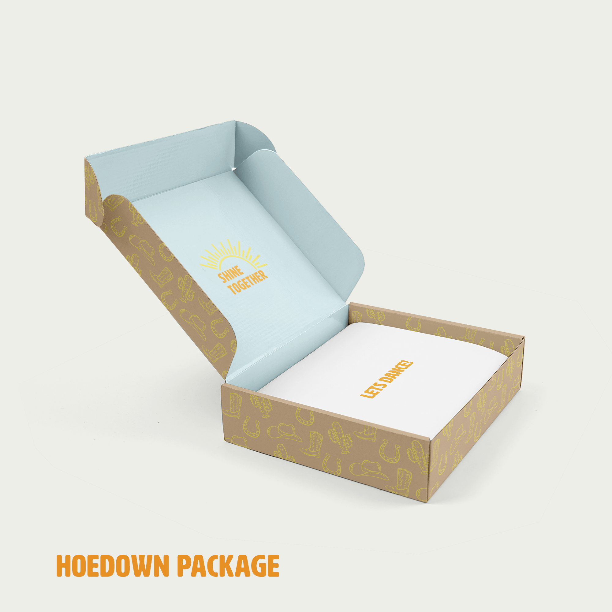 hoedown box with words