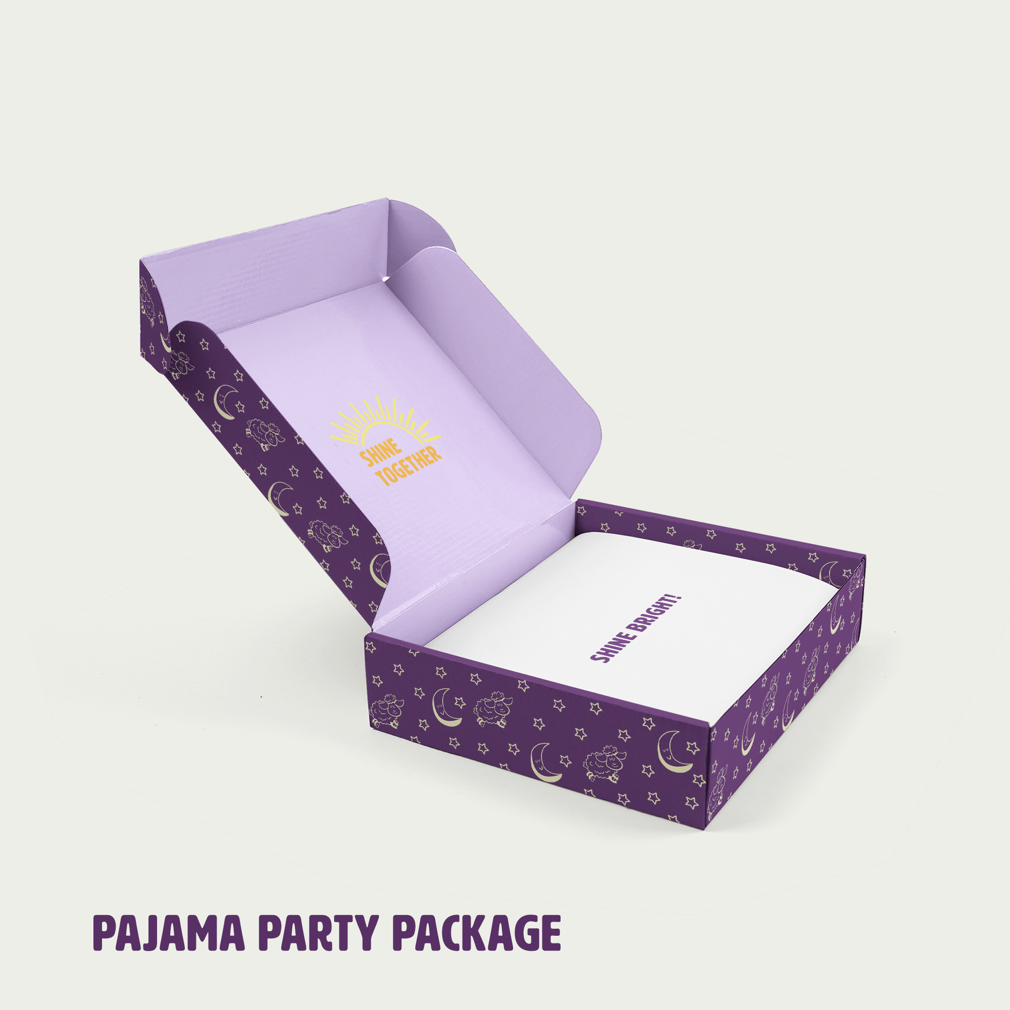 pajama party box with words