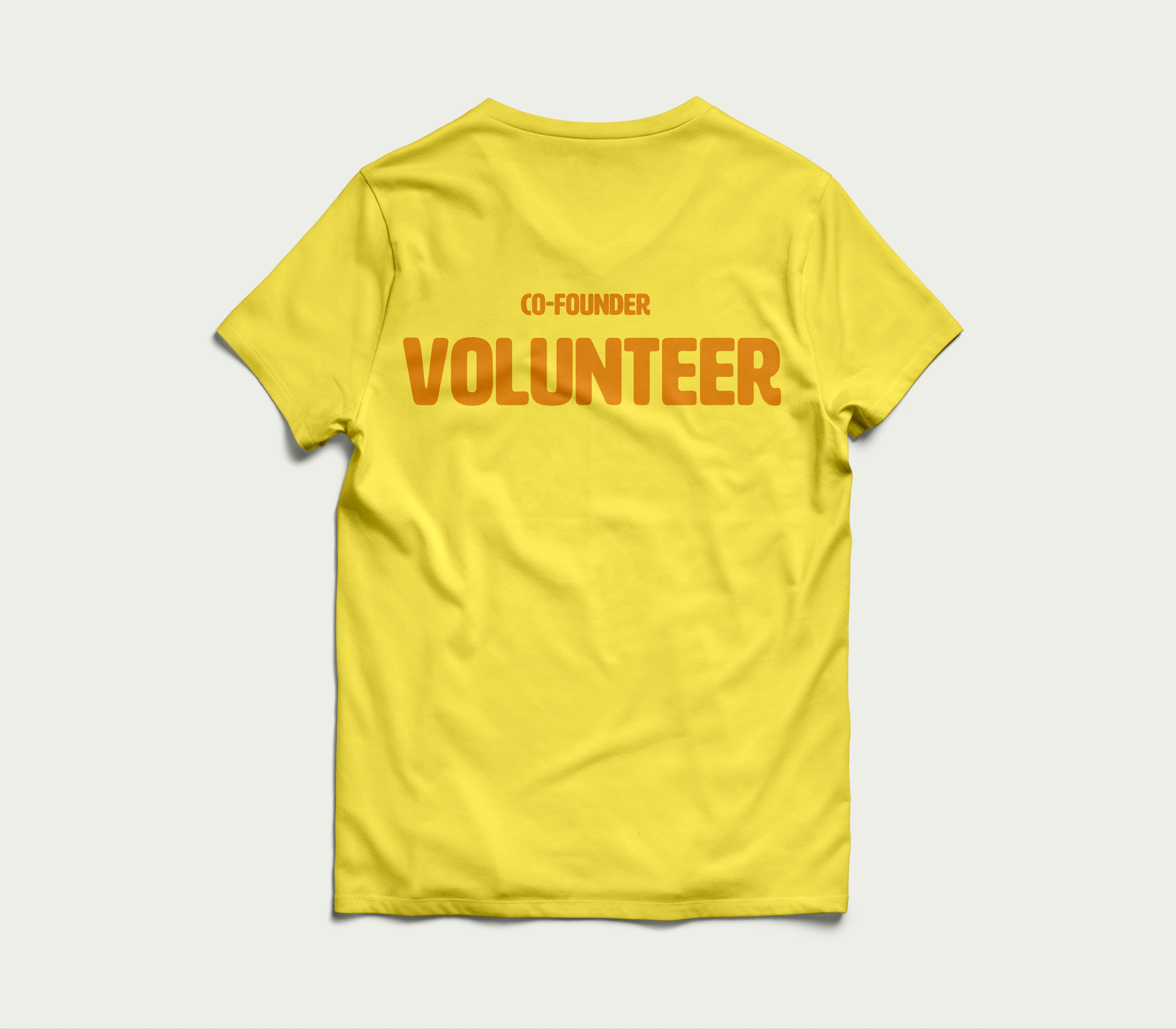 co-founder volunteer shirt back